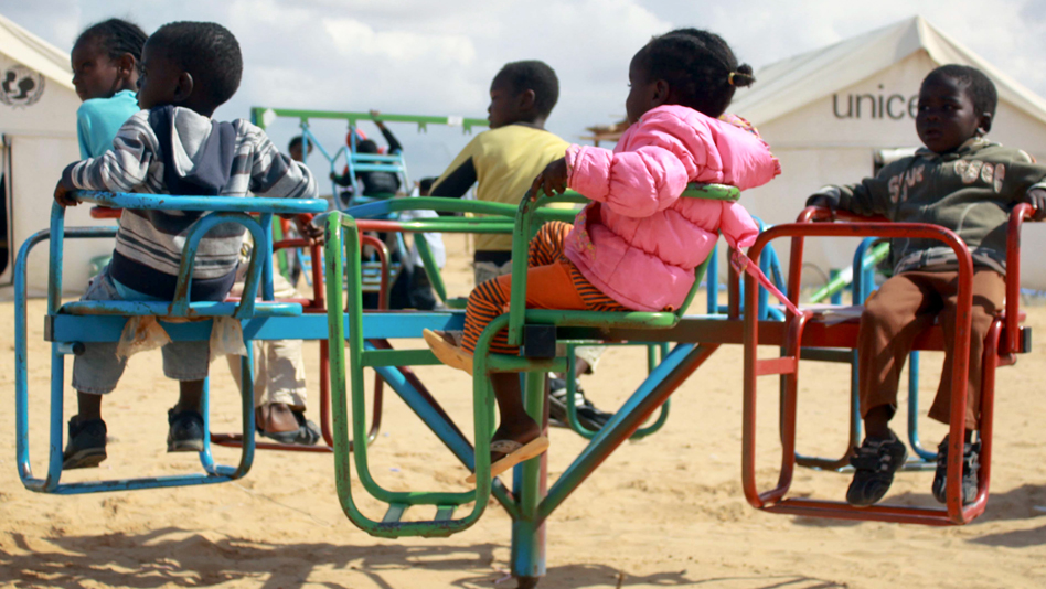"""Tunisia, Shousha camp. Refugee children playing in the camp family centre"""