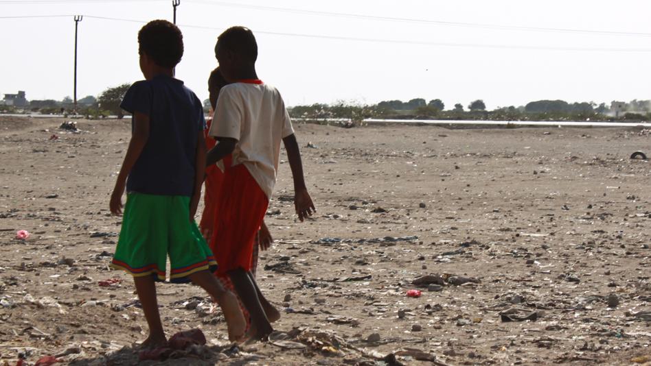 """Yemen, Aden. Somali refugee children in Basateen"""